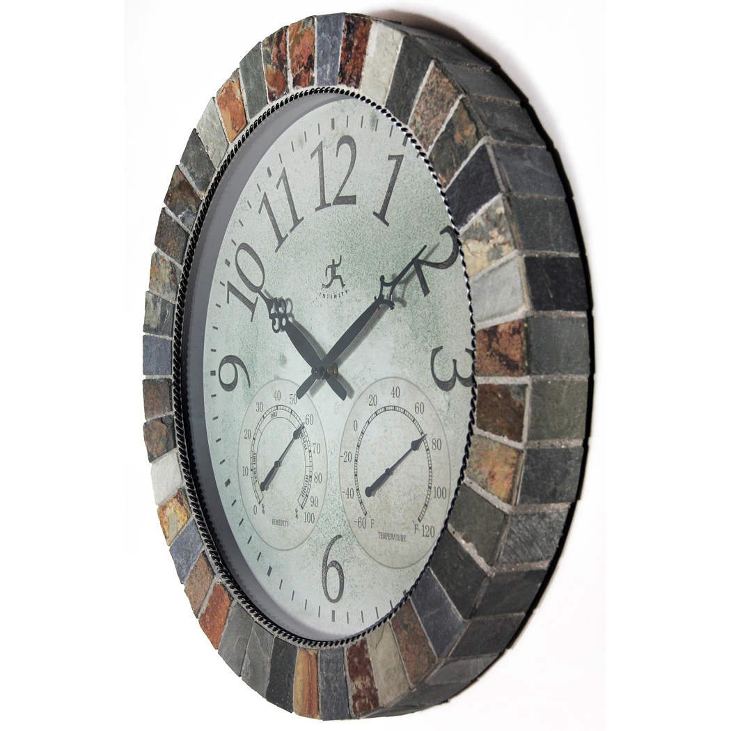 Brown And Slate Blue Living Room: 18 Inch The Inca; Brown Slate Wall Clock