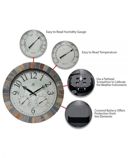 features of inca brown slate wall clock 18 inch