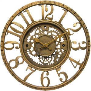 15.5 inch Gear Gold Resin Wall Clock