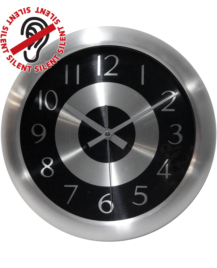 10 inch Mercury Black & Silver Steel Wall Clock