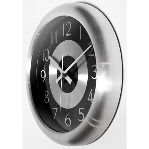 from left side mercury black and silver steel office wall clock modern office 10 inch