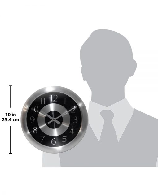 for scale mercury black and silver steel wall clock modern office 10 inch