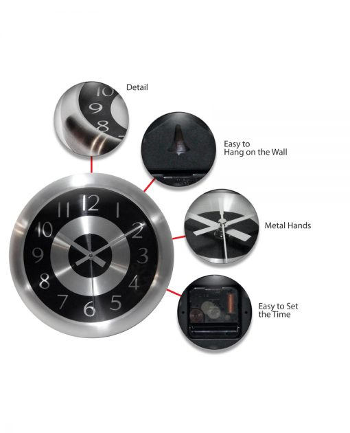 features of mercury black and silver steel wall clock 10 inch modern office