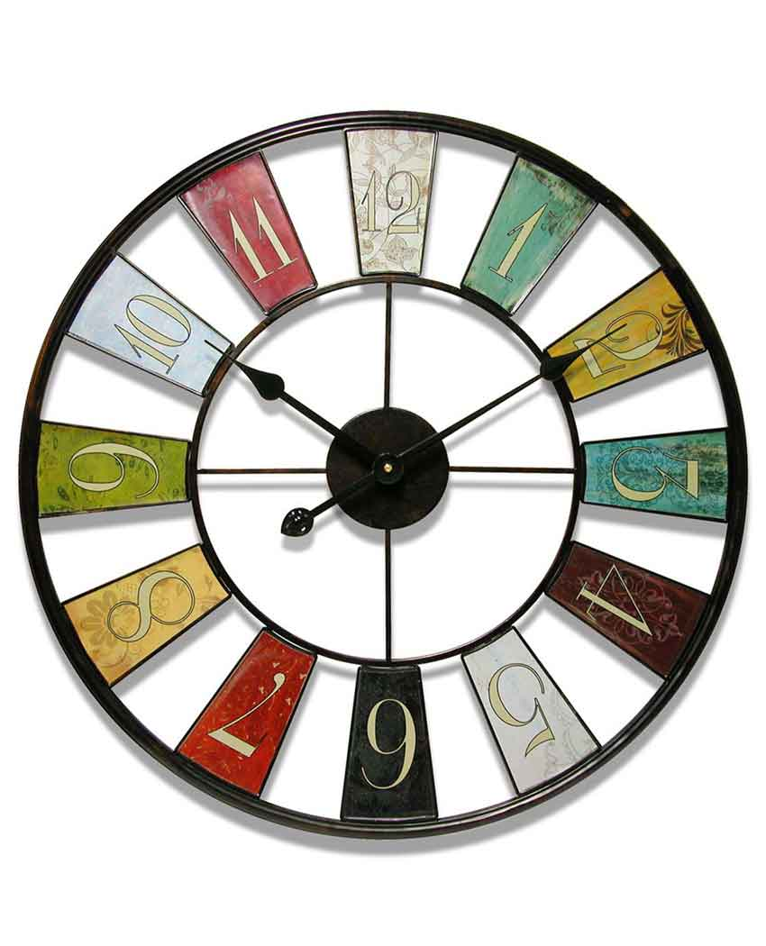 24 Inch Kaleidoscope Multicolor Steel Wall Clock Clock