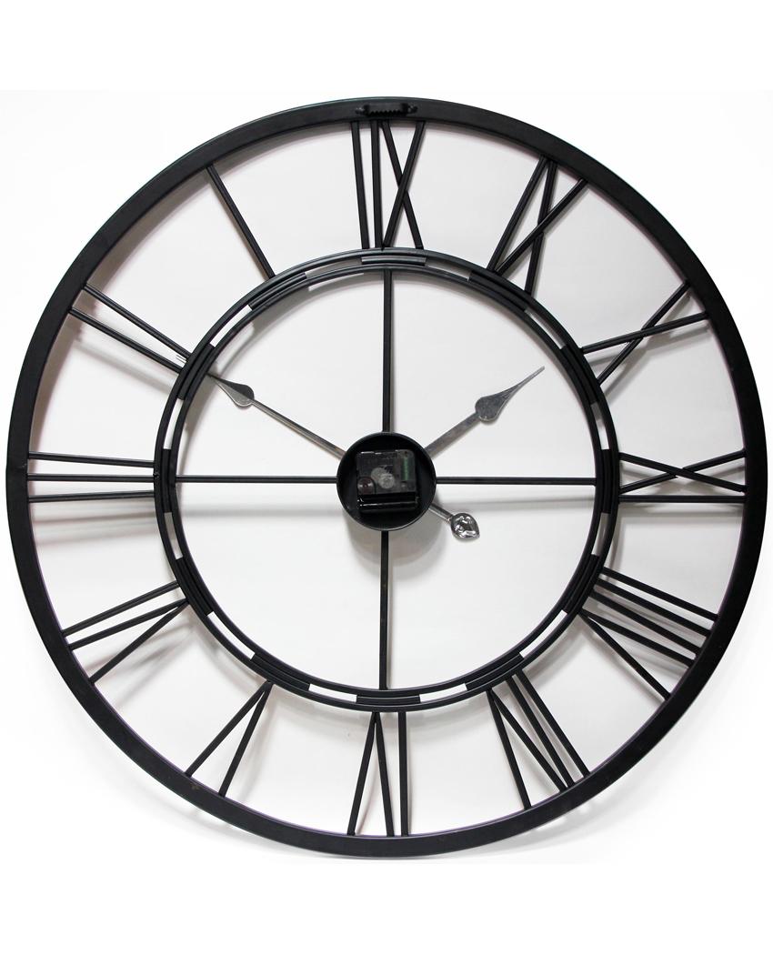 Metal 24 hour dark grey metal and wood wall clock clock by room 14504 metal fusion amipublicfo Gallery
