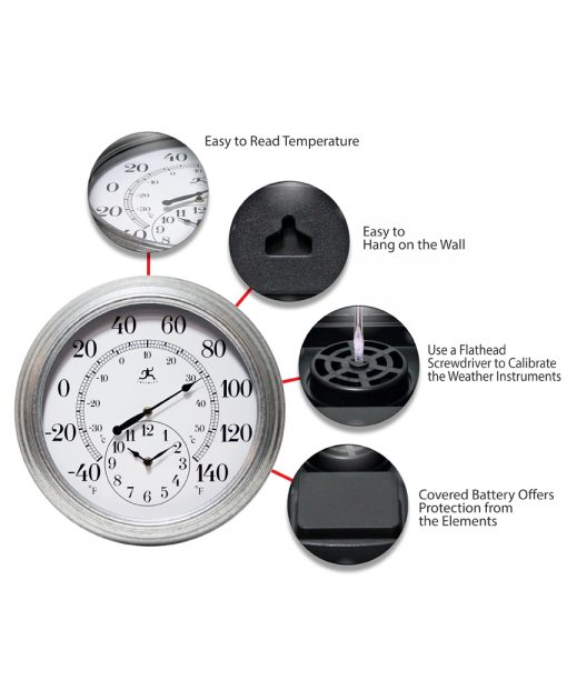 features of prague gray steel wall clock