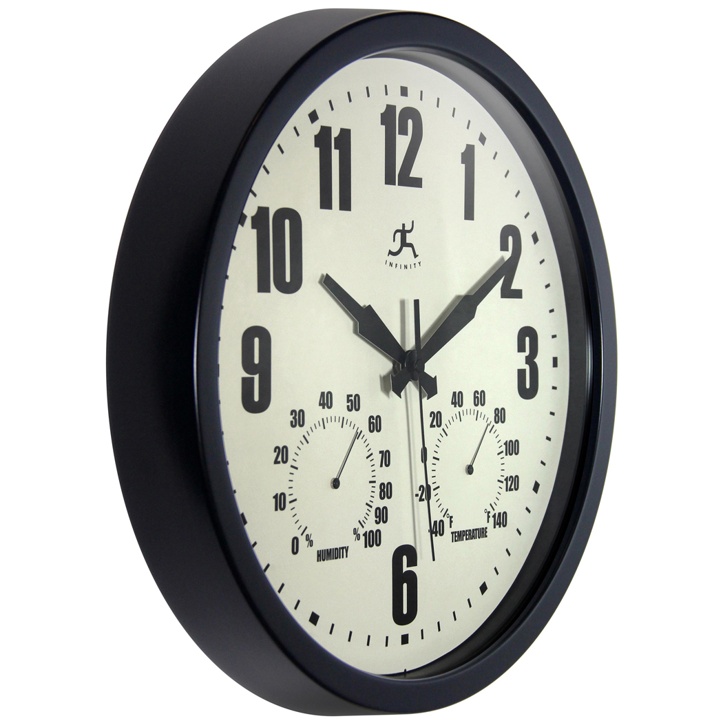1425 inch patio black steel wall clock clock by room patio amipublicfo Choice Image