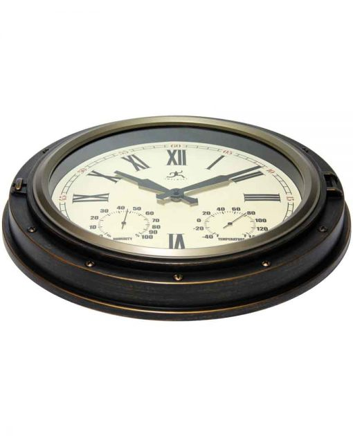 indoor outdoor wall clock with thermometer