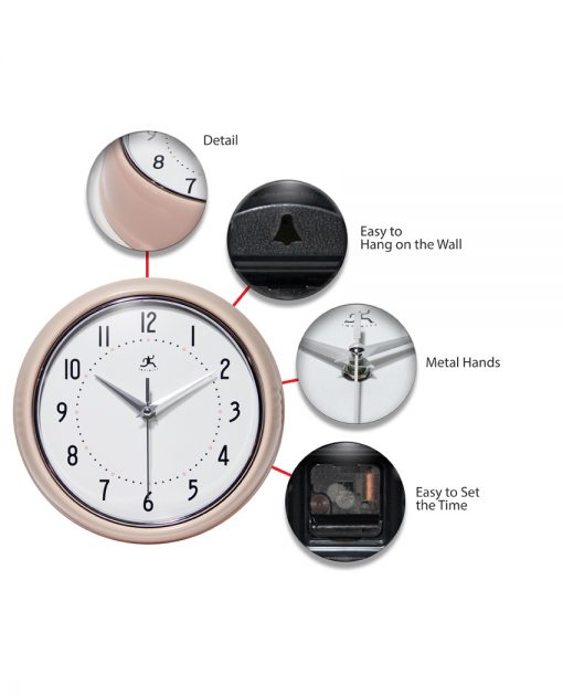 features of retro pink kitchen bedroom wall clock