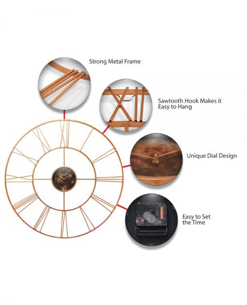 features of modern tower rose gold steel wall clock 45 inch extra large oversized
