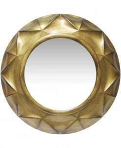 round vigil antique gold wall mirror