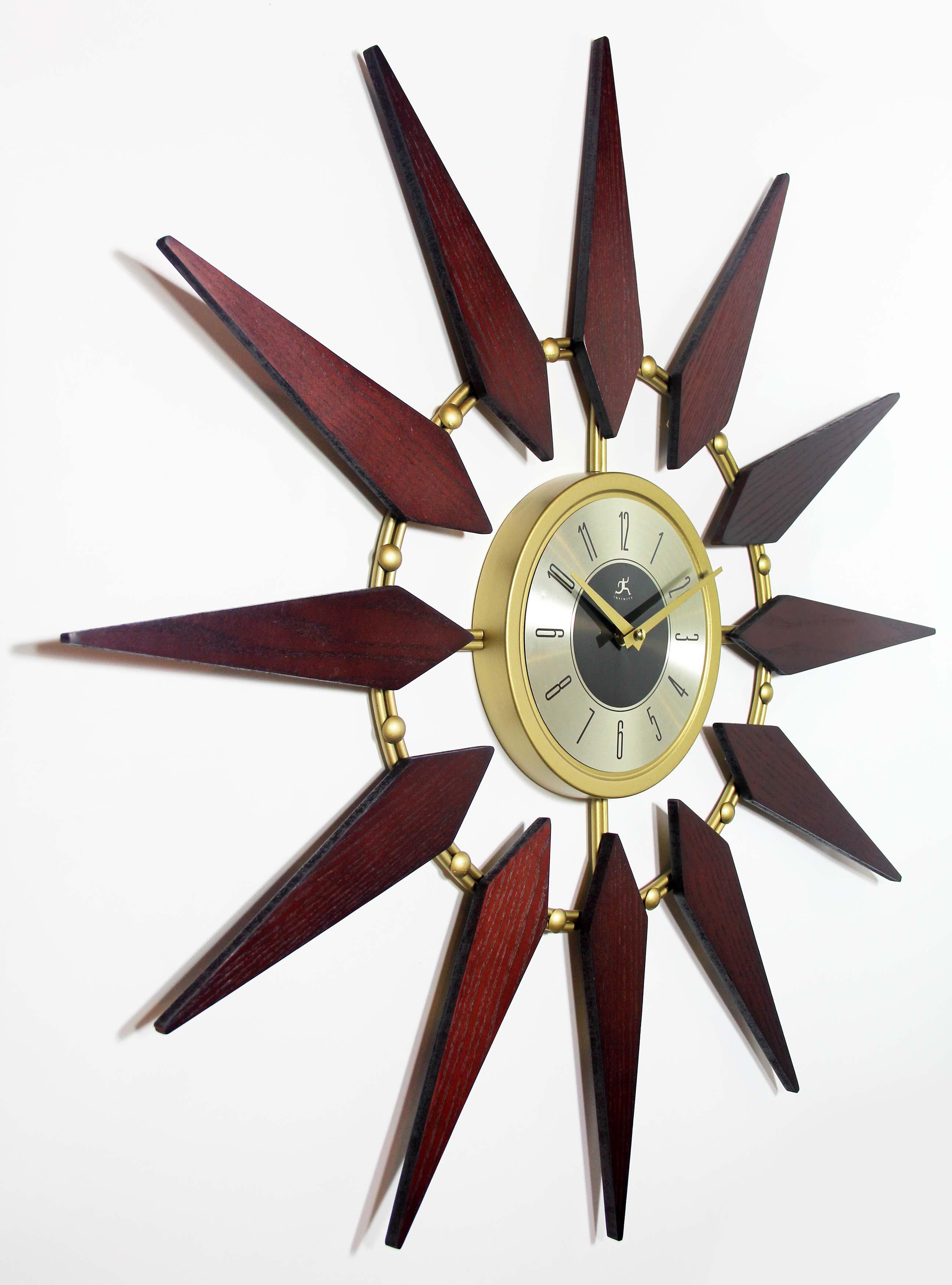 30 Inch Orion Midcentury Walnut Metal Wood Wall Clock