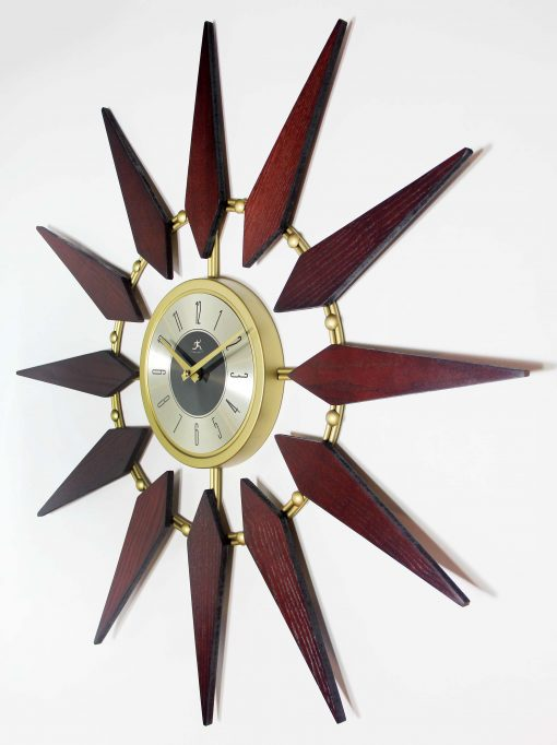 from left side mid century modern walnut wall clock 30 inch