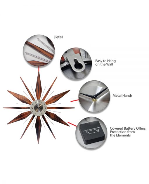 features of mid century modern clock