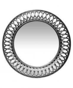 15455AS silver lattice wall mirror round circular