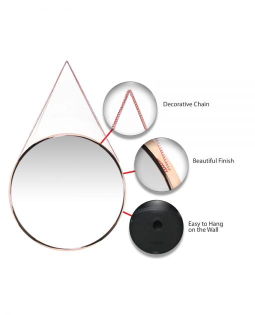 features of franc rose gold wall mirror