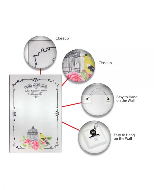 features of french country cafe wall mirror
