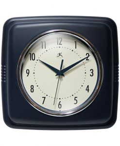 Square Retro Blue Resin Wall Clock