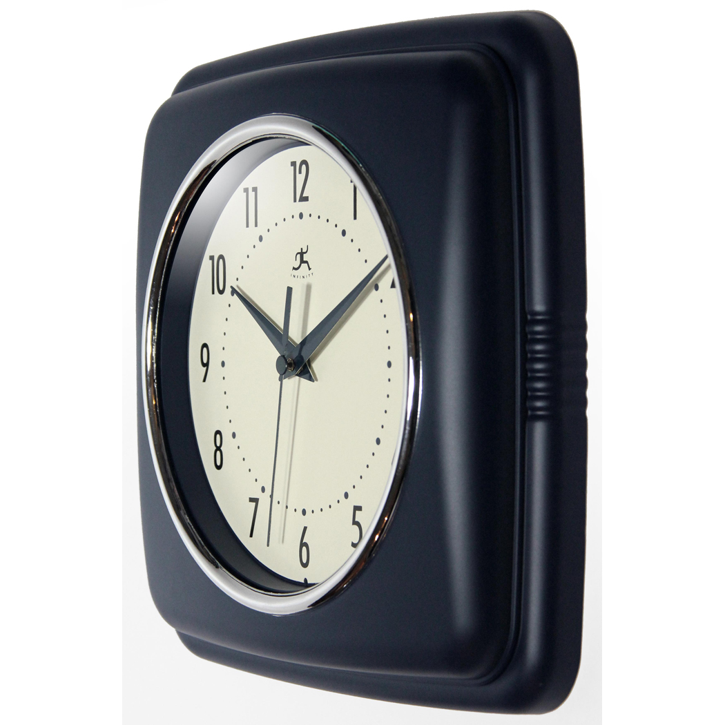 9 25 Inch Square Retro Blue Resin Wall Clock Clock By Room