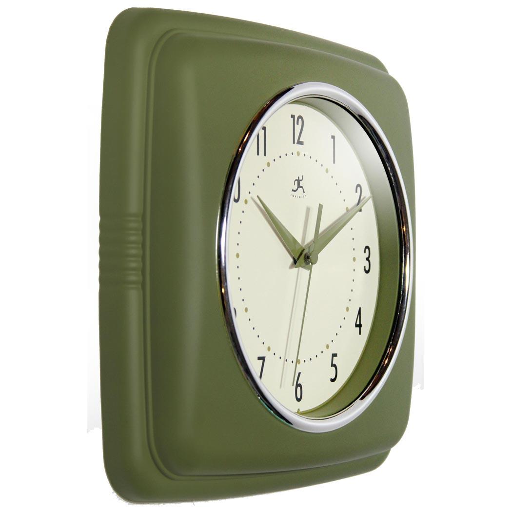 Retro Green Resin Square Wall Clock 9 25 In
