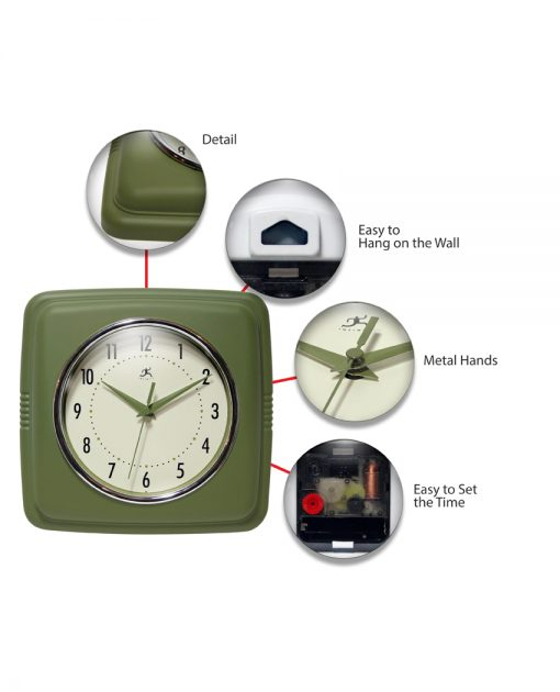 Square Retro Green Resin Wall Clock