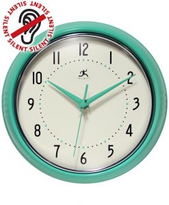 Aqua Round Retro Wall Clock kitchen