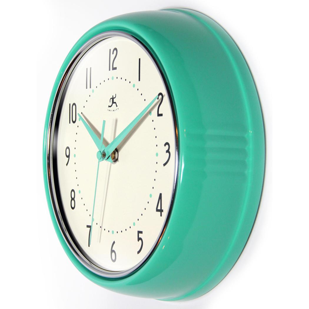 Retro Green Turquoise Aluminum Wall Clock 9 5 In