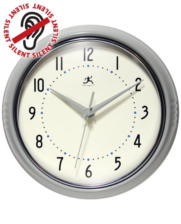9.5 Inch Retro Grey Aluminum Wall Clock
