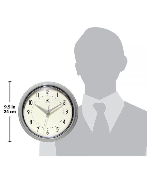 for scale retro silver gray round circle wall clock