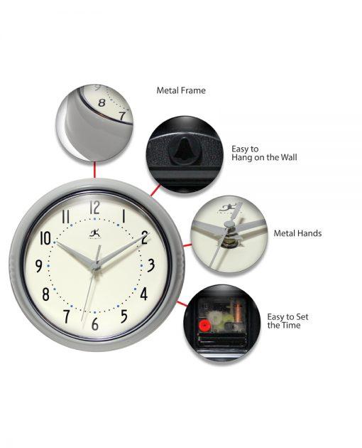 retro circle round gray silver wall clock