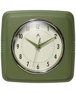 square retro kitchen clock