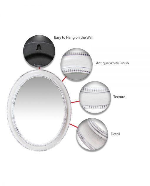 sonore white aged wall mirror 30 inch circle round mirror