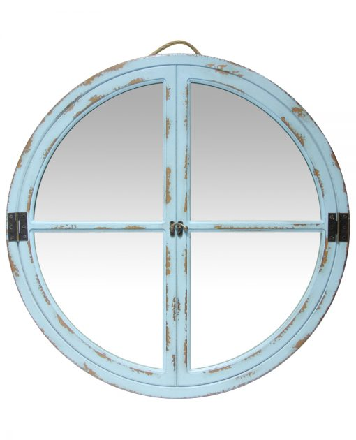 front blue powdered wall mirror 24 inch four quadrants rustic