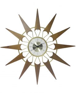 nova gold wood wall clock 30 inch mid century modern decorative
