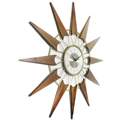 from right side nova gold wooden mid century wall clock 30 inch
