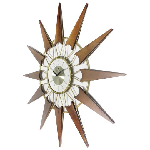 from left side nova gold wood wall clock mid century 30 inch