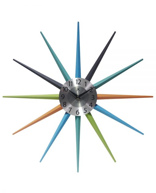 stellar multi color wall clock mid century modern silver face 20 inch colorful decorative
