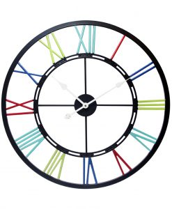 metal fusion black multi color wall clock 28 inch