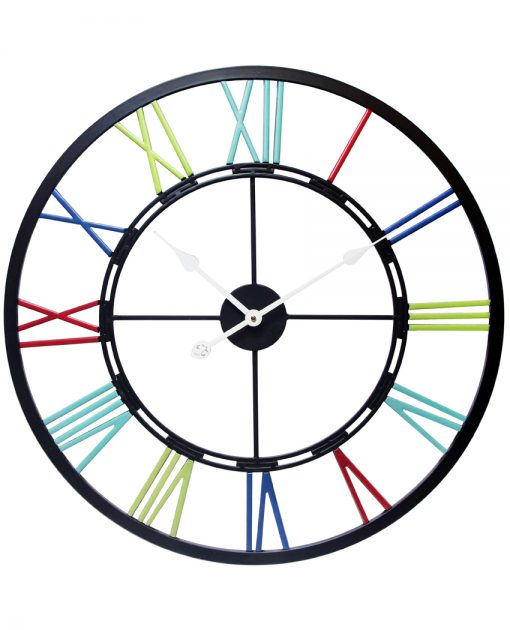 metal fusion black multi color wall clock 28 inch