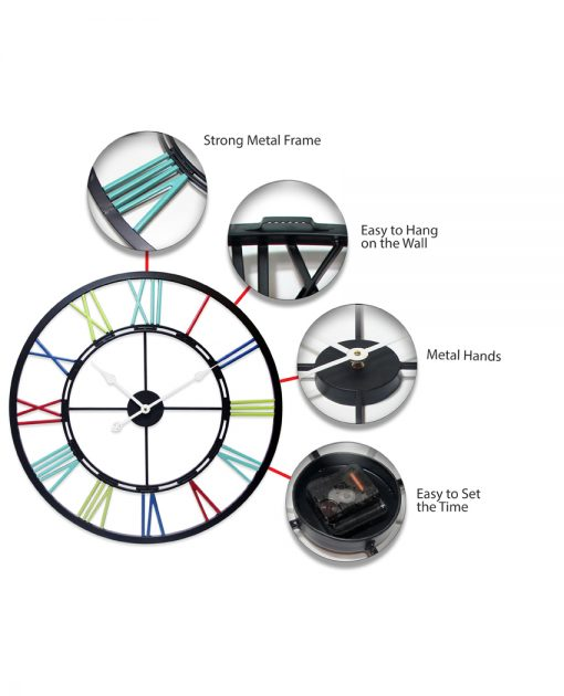metal fusion multi color wall clock extra large 28 inch oversized