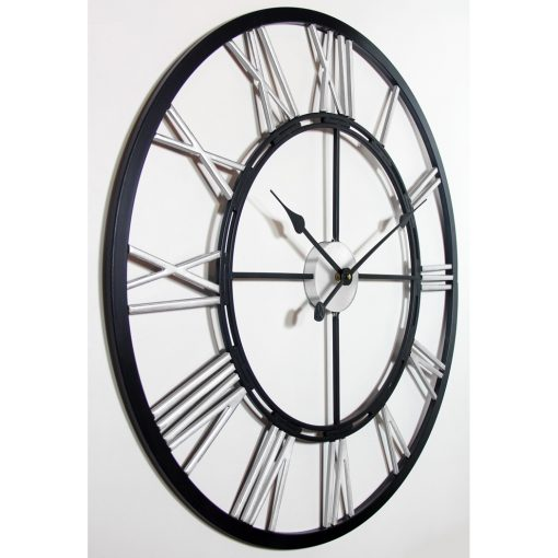 from right side black silver wall clock metal fusion 28 inch