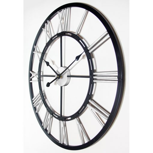 black silver metal fusion wall clock 28 inch extra large oversized