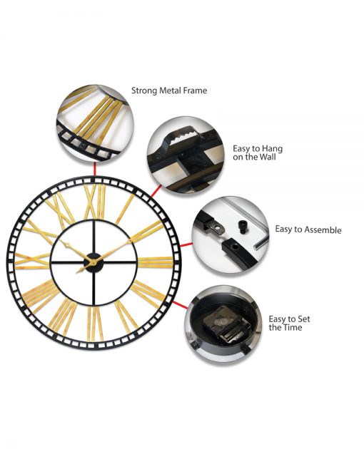 features of tower xxl black gold wall clock 39 inch extra large oversized