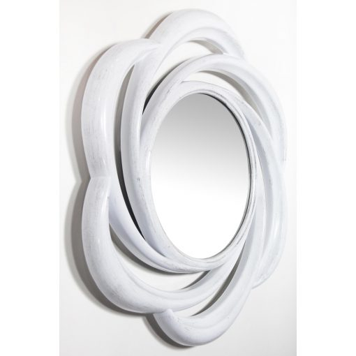 wirral round white wall mirror from right side