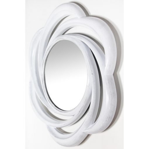 wirral white round wall mirror from left side