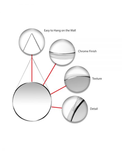 features of franc silver wall mirror round 17 inch