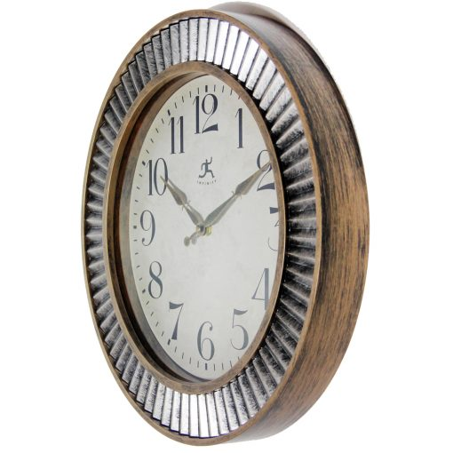 ruche aged gold silver wall clock rustic from left side