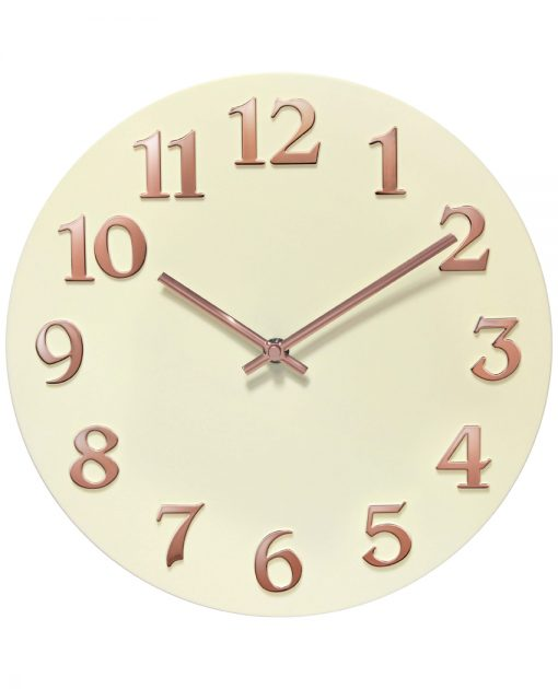 front view vogue ivory white wall clock 12 inch