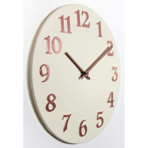 ivory vogue right side view pink numbers 12 inch wall clock