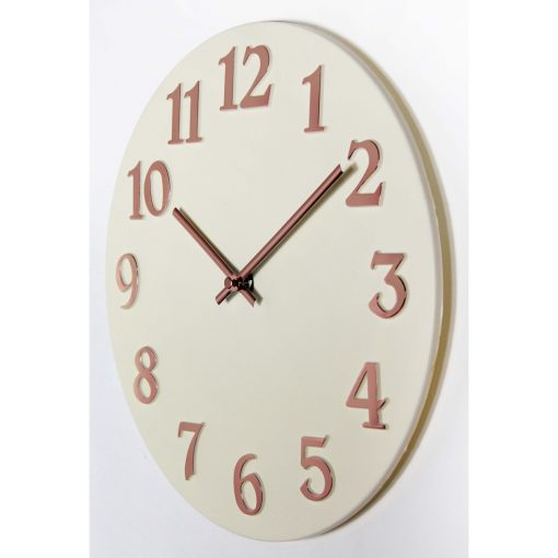 left side view of vogue ivory wall clock 12 inch